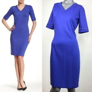 Escada Sport Elitza Studded Dress Blue V-Neck 38 8
